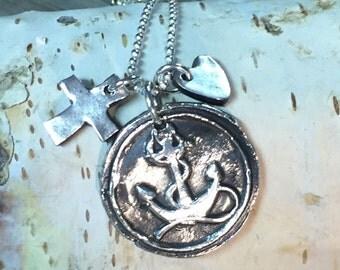 Faith, Hope and Love fine silver pendants