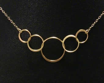 Large Interlocking Gold Rings Necklace