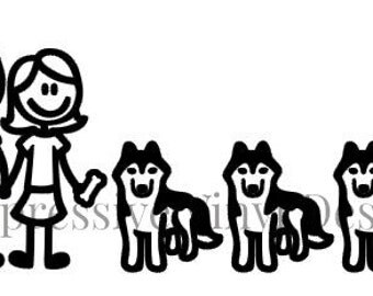 Stick Family Custom Pet Dog Lover Siberian Husky Family up to 5 Characters Vinyl Decal for Car Truck Van  Laptop Mailbox Window