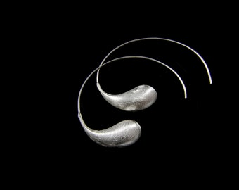 Handmade Sand-Brushed Delicate Sterling Silver Loop Earrings