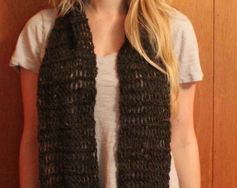 Long Walnut Brown Churro Wool Scarf with fringe