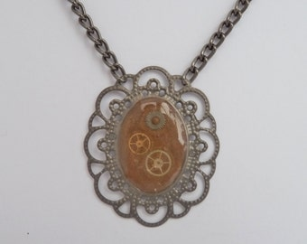 Gold Upcycled Necklace with Watch Parts