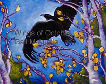 wall art prints ~Art Print ~Crow Art ~Blackbird ~Raven Art ~Austin Art ~Raven Art Print ~Inspirational Art ~October ~Freedom oil painting