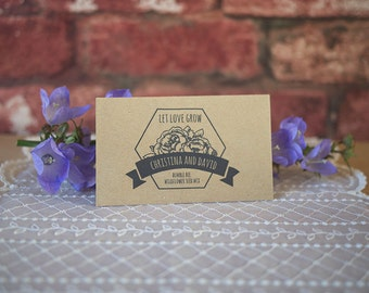 20 personalised wedding favour seed packets vintage shabby chic eco