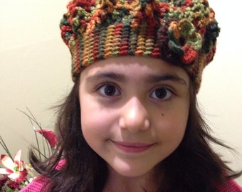 Multicolor pleated girl's hat