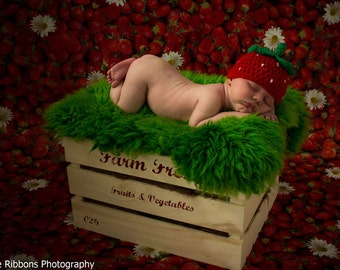 newborn strawberry hat photo prop