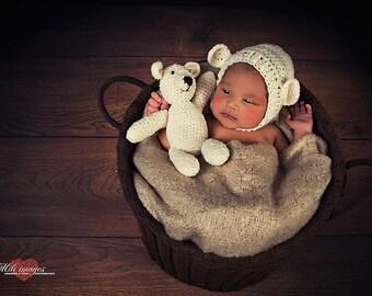 Newborn teddy bear bonnet, newborn teddy bear hat, teddy bear set, newborn bonnet photo prop, newborn bear hat, teddy bear photography prop