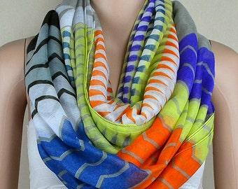 Geometry color piece cotton scarf, zigzag stripe printed scarf, infinite loop infinity scarf, collar