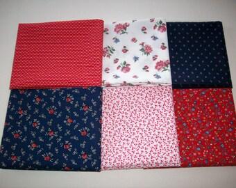 6 fat quarters vintage fabrics navy, red, pink, blue, floral, dots
