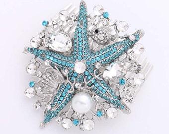 Starfish Hair Comb, Blue Bridal Comb, Crystal Pearl Starfish Hair Pin, Beach Wedding, Bridal Hairpiece, Rhinestone Starfish Headpiece