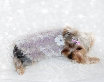 Hand Knitted Light Purple Fluffy Sweater for Dogs, Knitted Pet Sweater, Lilac Sweater for Dogs, Unique Designed Dog Sweater