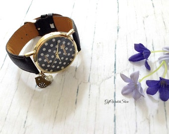 "Retro Leather Watch, Dot Pattern Watch, Leather Bracelet Watch, Wrist Watch, Leather Watch, Vintage Style Watch ""bird"" charm"