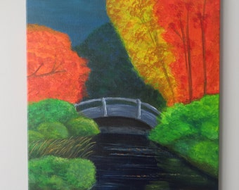 Bridge in Autumn, 16x20 in. Original Painting