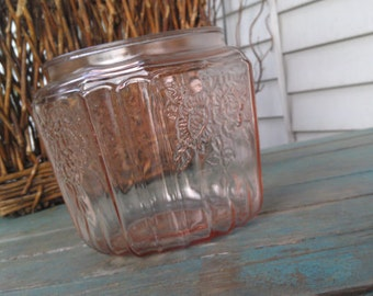 Vintage Pink Glass Mayfair Open Rose Cookie Jar By Hocking