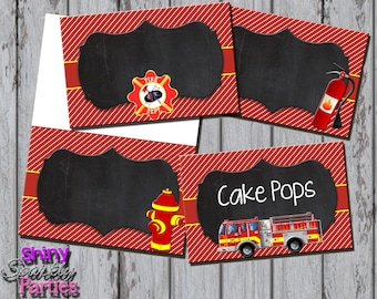 Printable FIRETRUCK FOOD TENTS - Firetruck Buffet Labels - Firetruck Food Station Signs - Firefighter Food Tents - Fireman Party Decorations