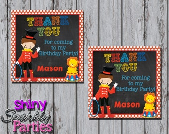 Printable CIRCUS FAVOR TAGS - Circus Birthday Party Thank You Tags - Carnival Favor Tags - Circus Party Favor Tags -  Circus Party Tags