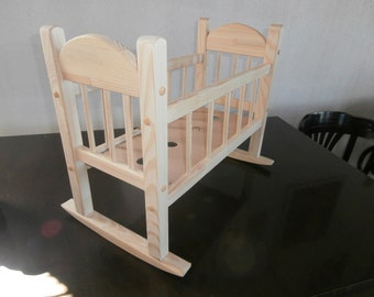 Wooden swing doll bed
