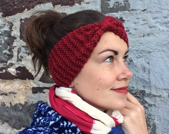 SALE! WAS 12.00 - Merino blend hand knitted gathered & wrapped headband - dark red