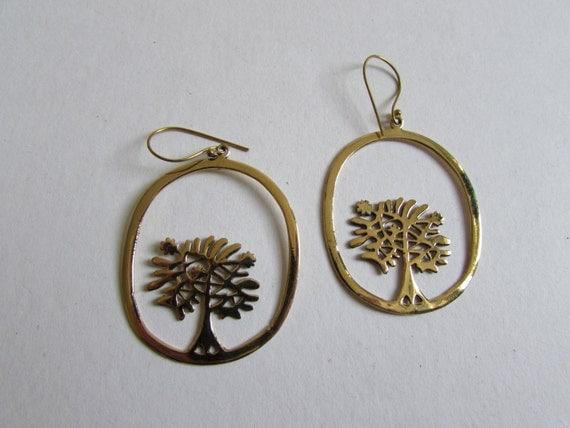 Brass Big Oval Tree of Life Earrings, Earrings handmade,Yoga Earrings hooks, Nickel Free, Yoga Jewelery, Gift boxed,Free UK post BG2