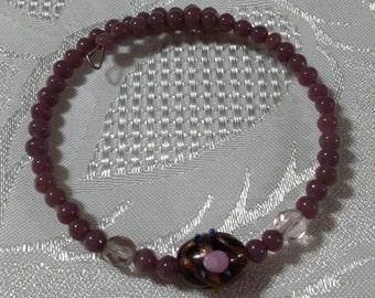 Purple lampwork glass bead memory wire bangle
