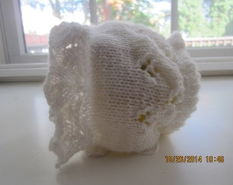 Infants White Bonnet  0 -6 mos Lacey Design with Picot edging on Back soft acrylic