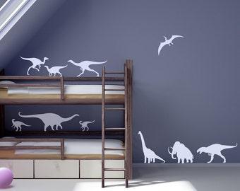 Dinosaurs Wall Vinyl Sticker Decals. Set of 12. ~ Item 0148
