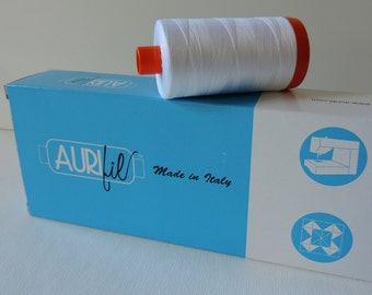 Large Spool Aurifil 50 wt White Fine Cotton Thread