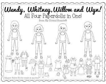 Printable Paper Doll Set of 4-Instant Download by My Friend Ronnie