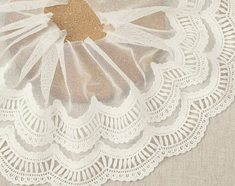 Two Layers wide White lace fabric,embroidered lace, Fashion lace trim, bridal lace F0029