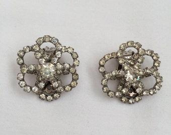 Vintage Rhinestone Open Circles Loops Clip Earrings