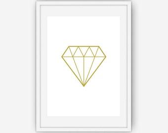 Gold Diamond Print, Gold Wall Art, Diamond Print, Gold Print, Gold Diamond Art, Geometric Wall Art