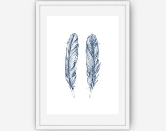 Feather Print, Navy Blue Wall Art, Feather Wall Art, Hand Drawn Feather, Wall Art, Printable, Instant Download