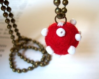 Bronze, bronze tone ball chain necklace embroidered red felt ball polka dot red white