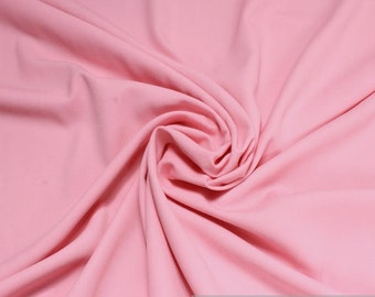 Fabric polyester rayon denim pink crease-resistant opaque solid soft viscose