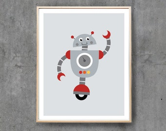 Robot Print, Robot Art Poster, Retro Blue Robot Wall Art, Boy Nursery Art Print, Printable Art / INSTANT DOWNLOAD