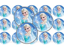 """1"""" FROZEN Elsa Bottle Cap Image Sheet for Party Favors - INSTANT Download - S68"""