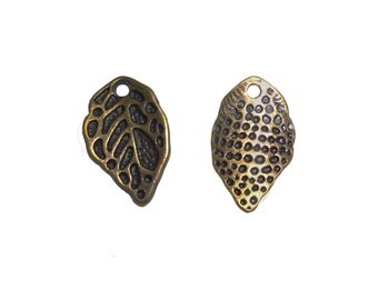 100 x Zinc Alloy Antique Bronze Leaf Pendants Charms 16x10mm