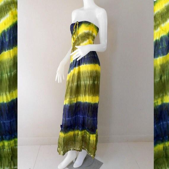 2 in 1Multi-color  Boho Hippie Summer Tie Dye Smock Tube Dress /Skirt  (TD94)