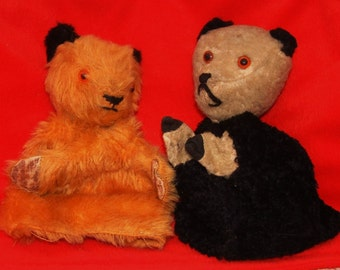 Vintage 1960s Chad Valley SOOTY, and possibly SOO teddy bear hand puppets 60s