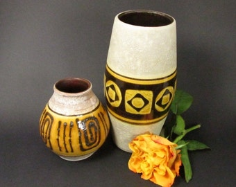 Set of two West German Pottery vases / Jasba and Carstens / WGP, Mid Century