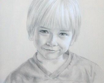 PORTRAIT, children's portrait, custom portrait, commssioned portrait, original drawing, 11 x 14