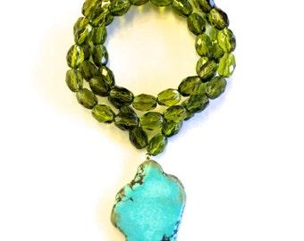 Turquoise & Olive Green Gemstone Necklace