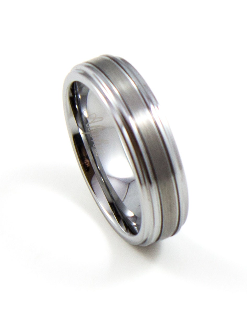 thin silver tungsten s wedding band 6mm s by