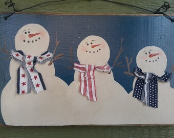 Personalized Snow Family Signs - 3 Snowmen