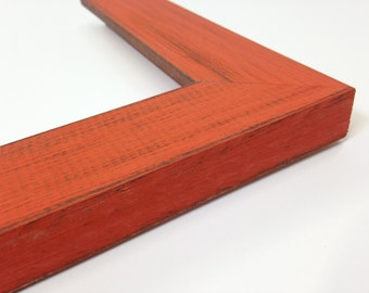ORANGE Rustic Wood Picture Frame, Reclaimed Distressed Wood, All Wood, 4x6, 5x7, 8x10, 11x14, 16x20, 18x24, 24x36 + Custom Frame Sizes