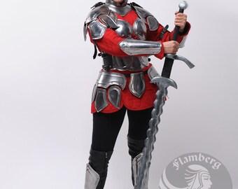 "Larp armor  Female Fantasy Costume ""Flamberg"" , pauldrons, bust, halve cuirass, skirt, greaves, bracers, gorget"