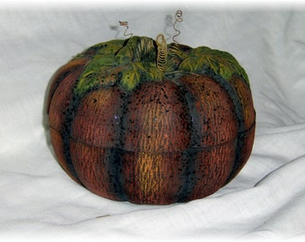 Textured Ceramic Pumpkin Box