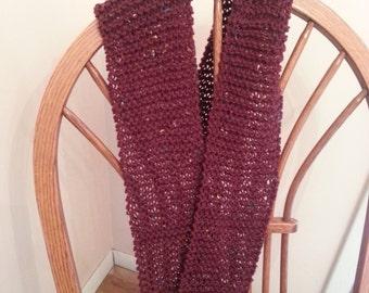 maroon scarf in maroon with confetti in yarn