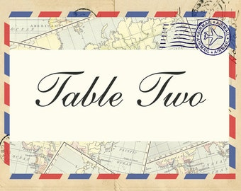 Vintage Airmail Destination Wedding Table Name and Number Cards