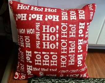 Red HOHOHO Pillow cover with Velcro Closure